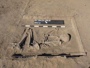 Remains of a man excavated at the Gaza Gray outpost