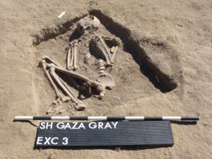 Remains of a woman excavated at the Gaza Gray outpost