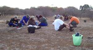 The team excavating at the Ngotso Mouth camp of Steinaecker's Horse